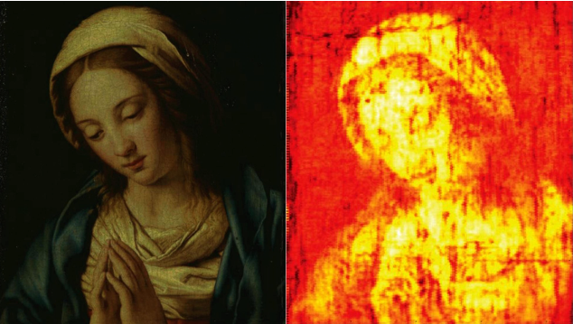 "Original and terahertz scanned ""Madonna in Preghiera"" by Giovanni Battista Salvi da Sassoferrato"